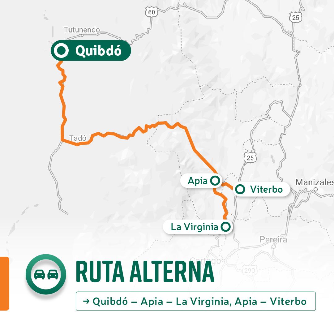 Ilustración de la vía alterna Quibdó - Apia.