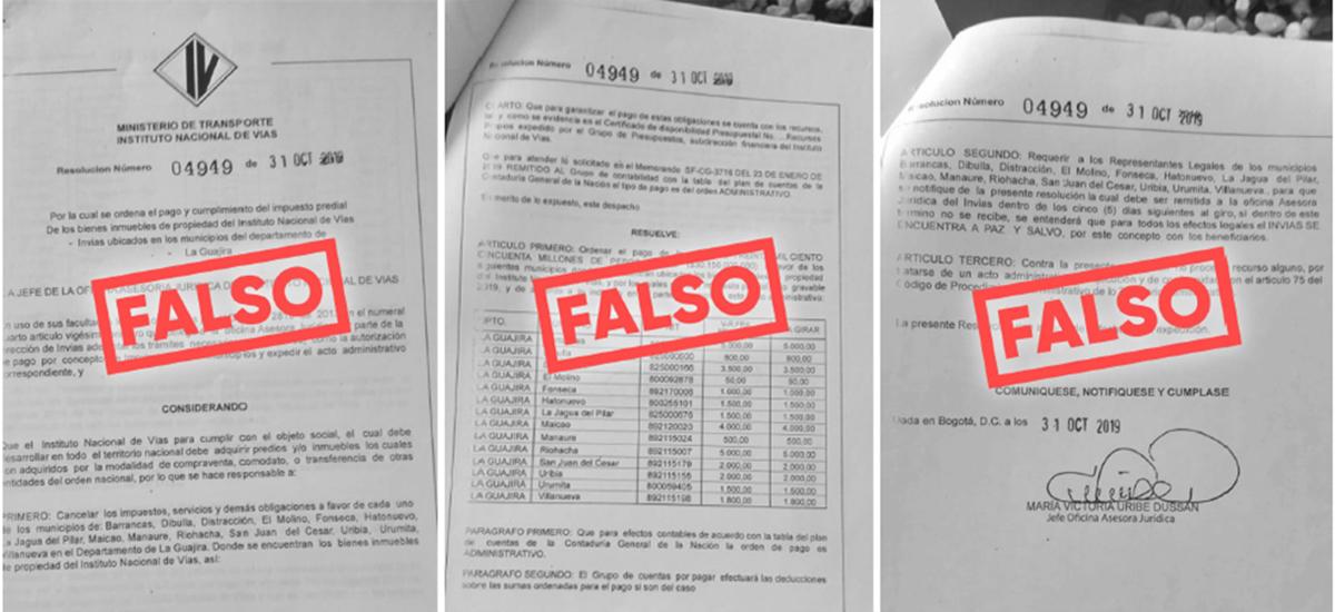 "Fotografías de ""actos administrativos"" fraudulentos."
