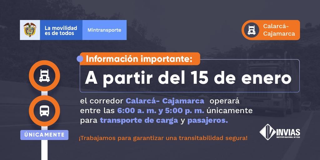 Ilustración medidas corredor Calarcá - Cajamarca.