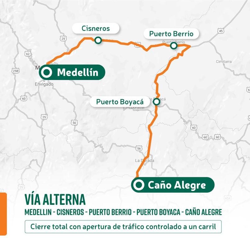 Ilustración vía alterna Medellín - Caño Alegre