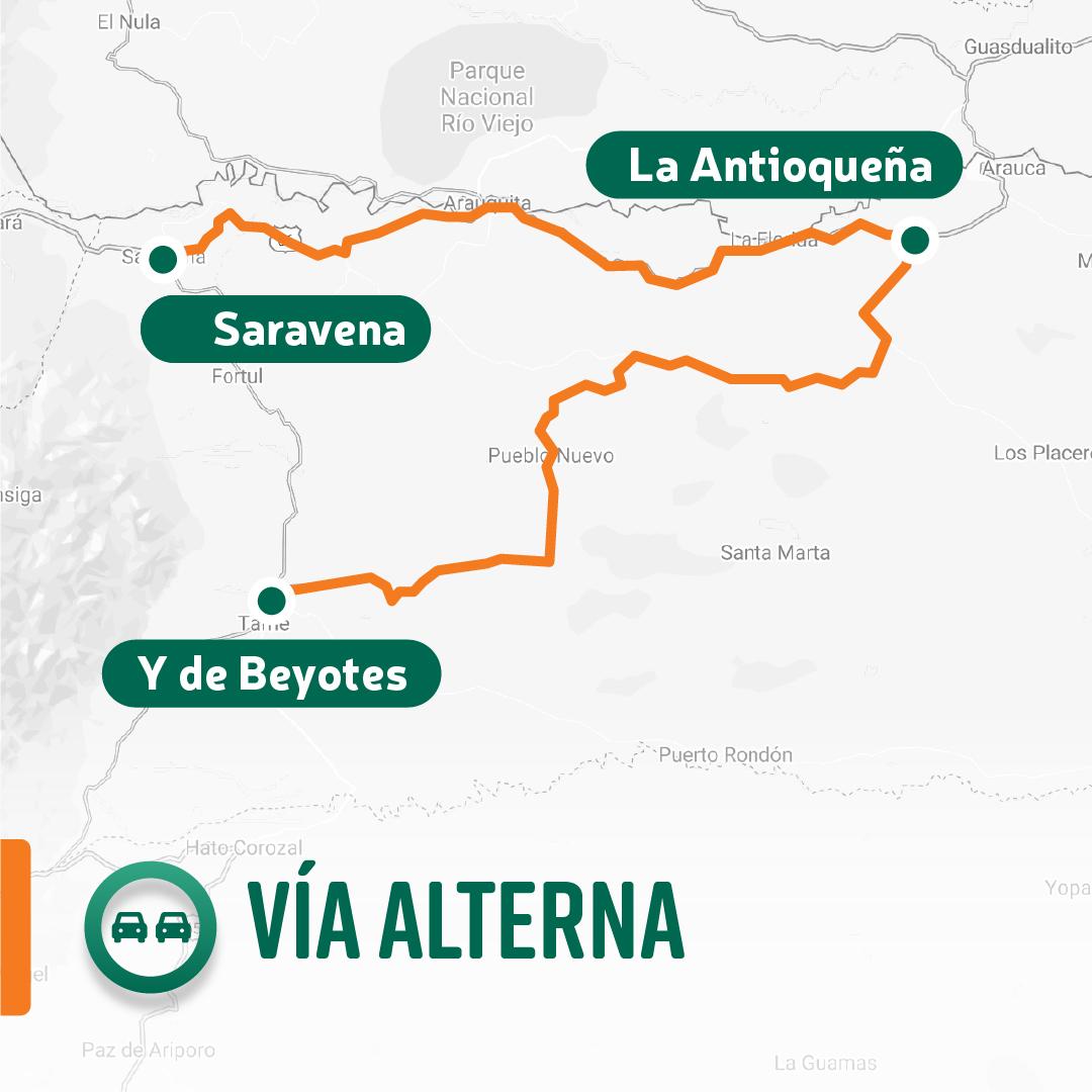 Ilustración de la vía alterna Saravena - Y de Bellotes